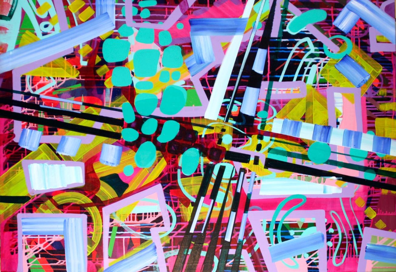 6&4 connection 130x98cm Acrylic on canvas 2014